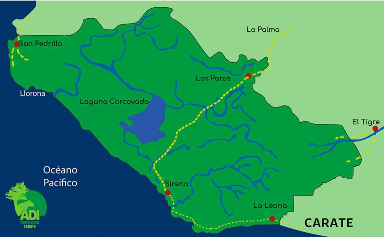 Map Corcovado National Park