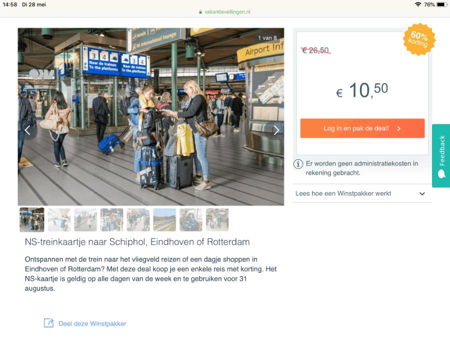 goedkoop naar schiphol met de trein