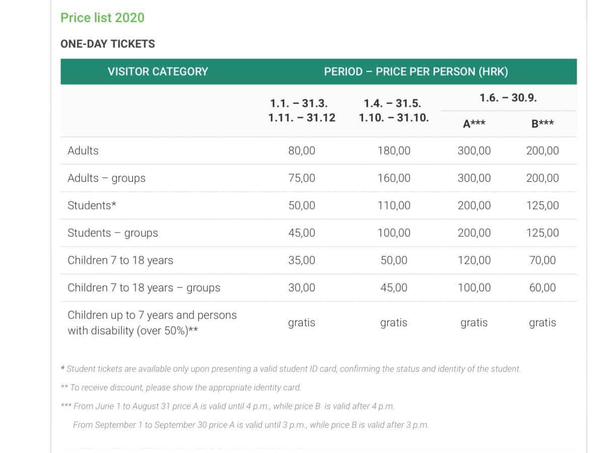 Ticketprijzen Plitvice National Park